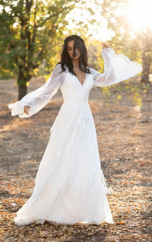 Casual Lace Wedding Dress With Sleeves Off 69 Medpharmres Com