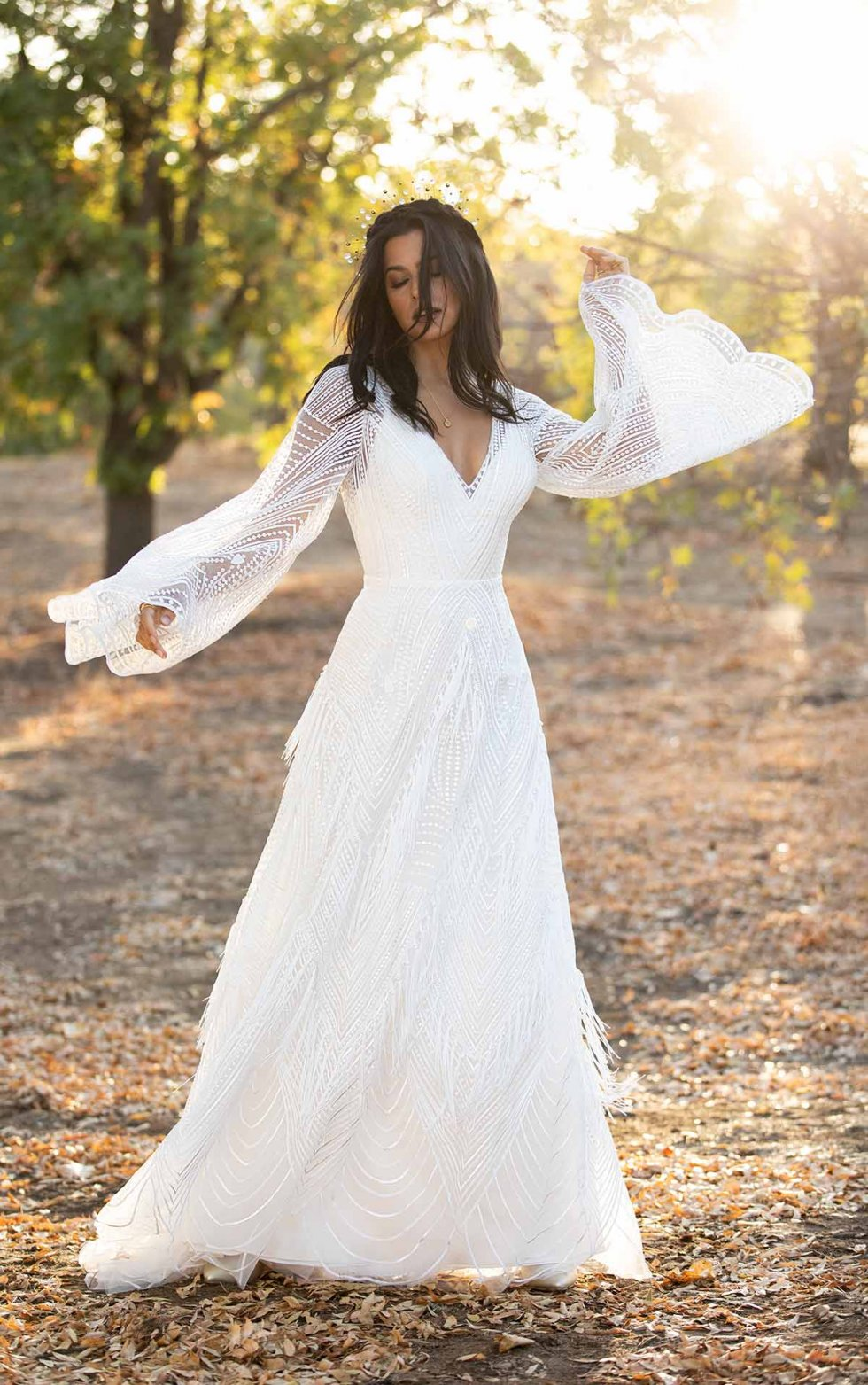 Romantic Boho Wedding Dress With Lace Bell Sleeves Kleinfeld Bridal