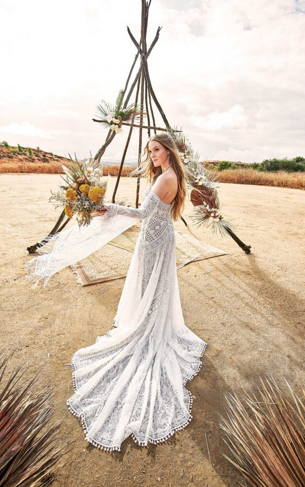 STRAPLESS BOHO WEDDING GOWN WITH GRAPHIC LACE AND DETACHABLE SLEEVES