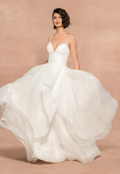Spaghetti Strap Organza Ball Gown Wedding Dress by BLUSH by Hayley Paige