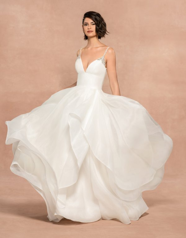 Spaghetti Strap Organza Ball Gown Wedding Dress by BLUSH by Hayley Paige - Image 1