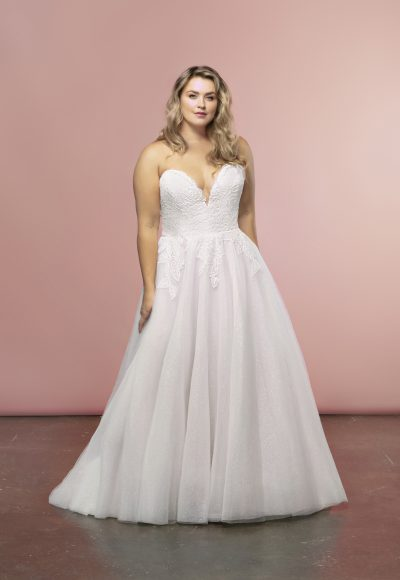 Strapless A-line Tulle Skirt Wedding Dress by BLUSH by Hayley Paige