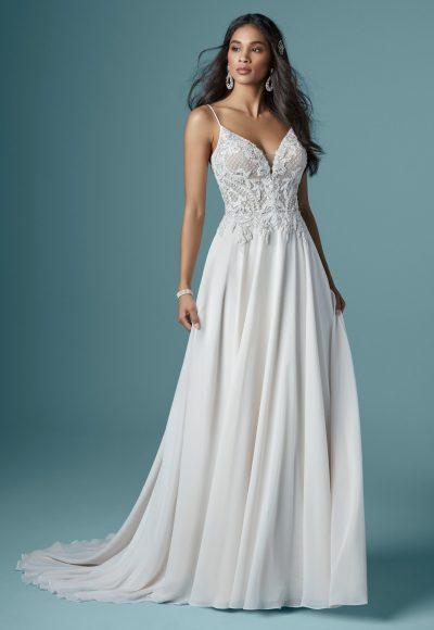 Spaghetti Strap With Deep Illusion Sweetheart Neckline Sheath Wedding Dress by Maggie Sottero