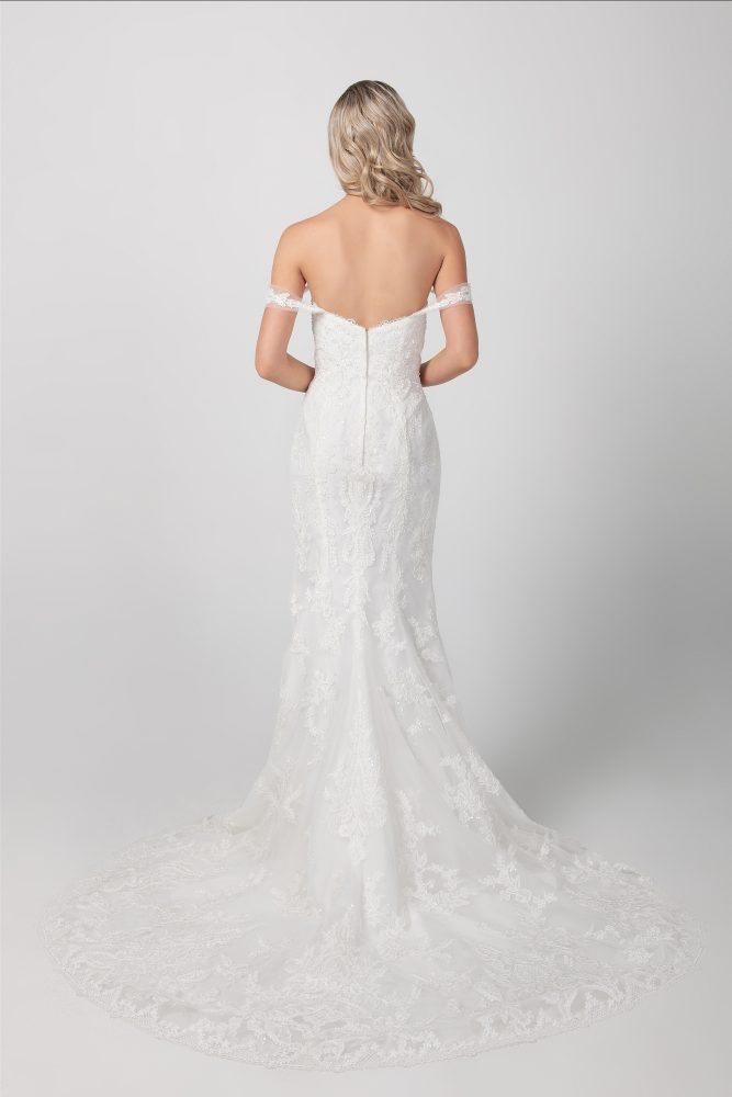 Beaded Floral Fit And Flare Wedding Dress by Michelle Roth - Image 2