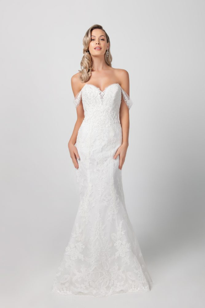Beaded Floral Fit And Flare Wedding Dress by Michelle Roth - Image 1