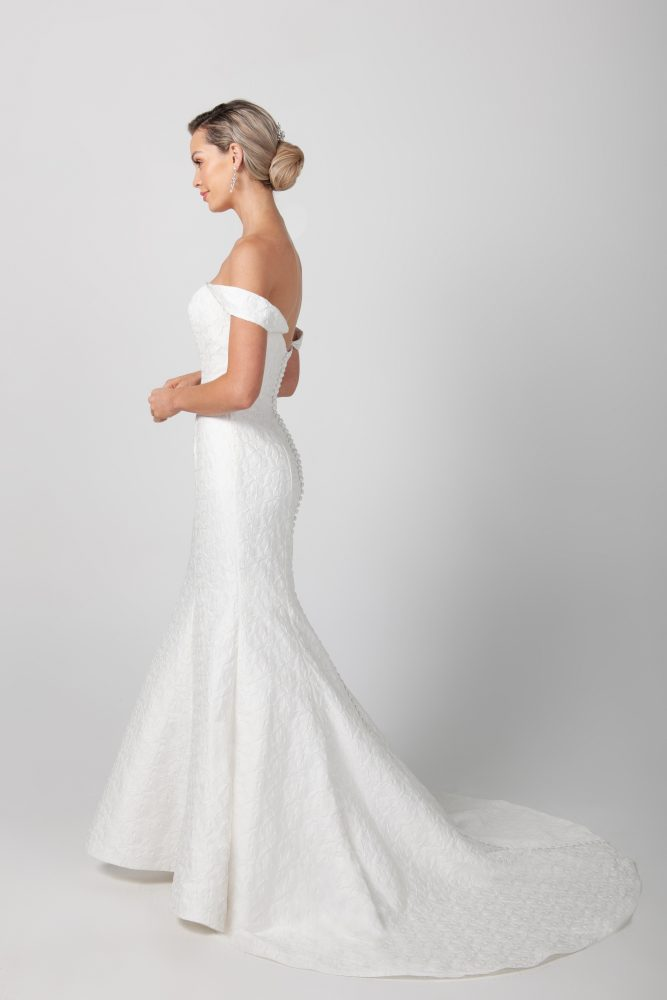 Fit And Flare Deep V-neckline Wedding Dress by Michelle Roth - Image 2