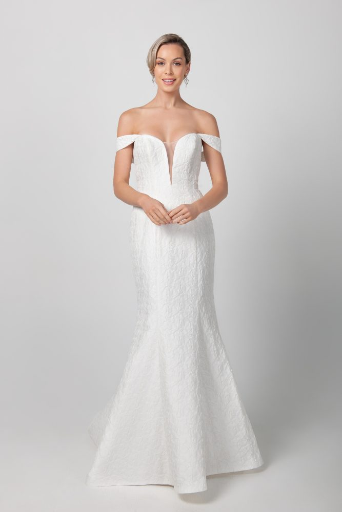 Fit And Flare Deep V-neckline Wedding Dress by Michelle Roth - Image 1