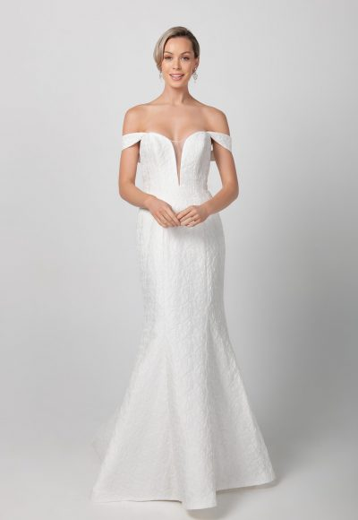 Fit And Flare Deep V-neckline Wedding Dress by Michelle Roth