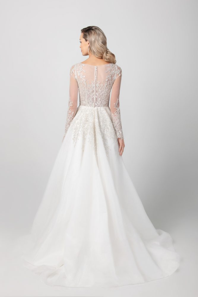 Long Sleeve A-line Wedding Dress With Illusion Sleeves by Michelle Roth - Image 2