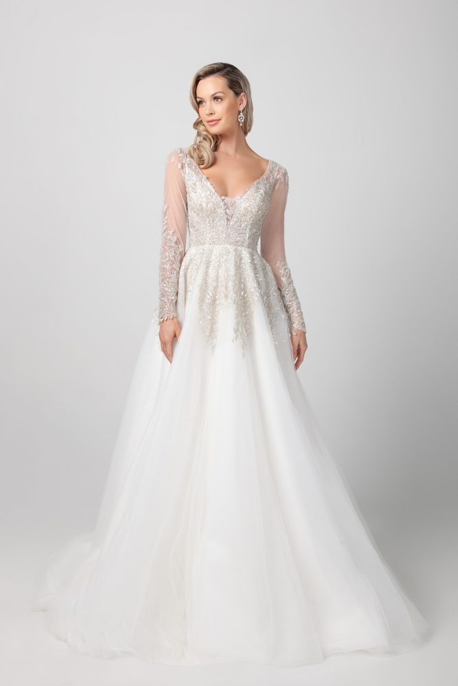 Long Sleeve A-line Wedding Dress With Illusion Sleeves by Michelle Roth - Image 1