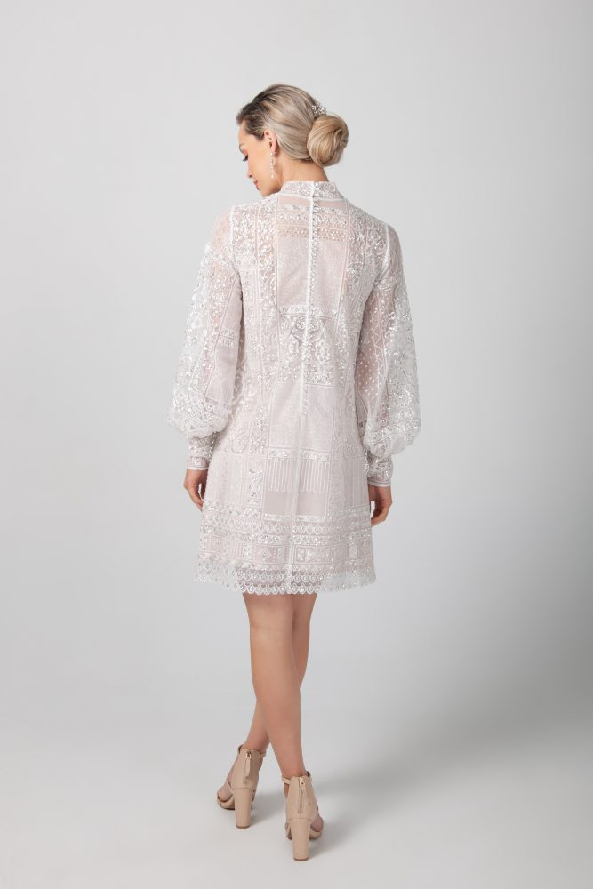 Long Sleeve High Neckline Short Lace Wedding Dress by Michelle Roth - Image 2