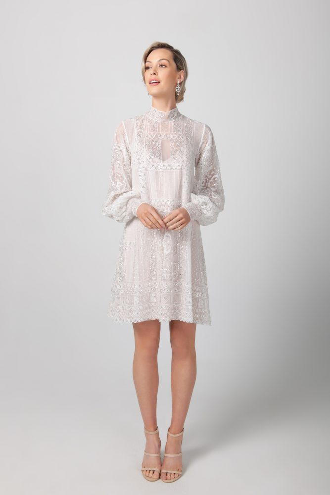 Long Sleeve High Neckline Short Lace Wedding Dress by Michelle Roth - Image 1