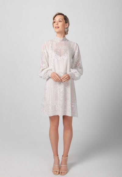 Long Sleeve High Neckline Short Lace Wedding Dress by Michelle Roth