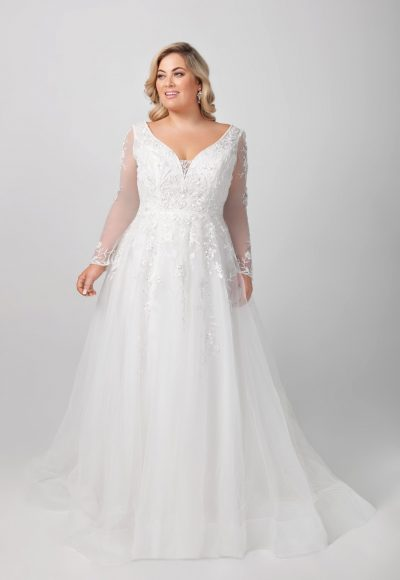 Long Sleeve Lace A-line Wedding Dress by Michelle Roth