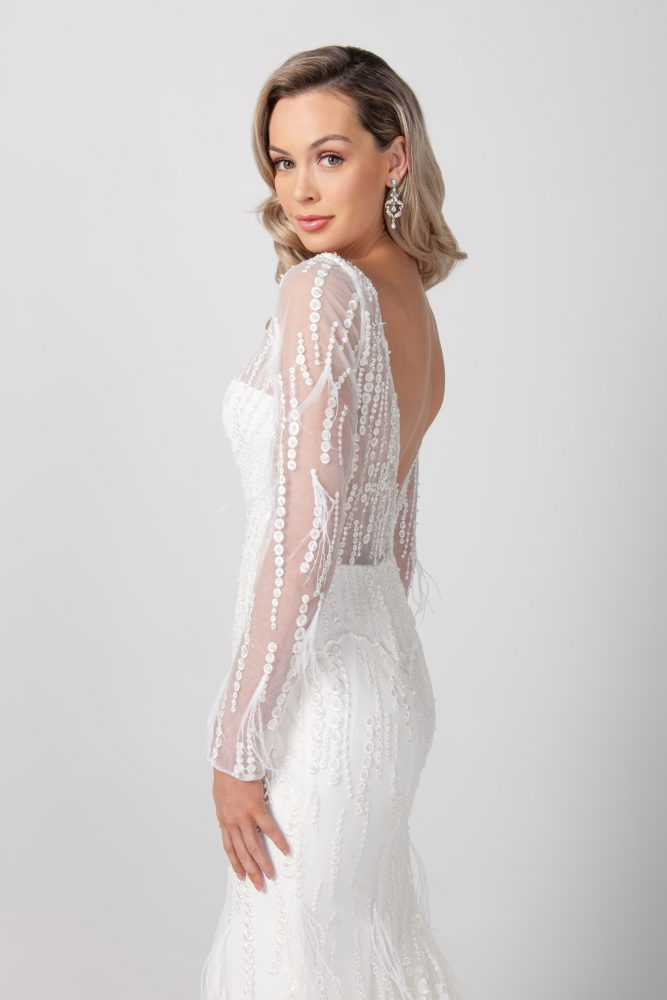 Long Sleeve V-neckline Beaded Feathered Wedding Dress by Michelle Roth - Image 2