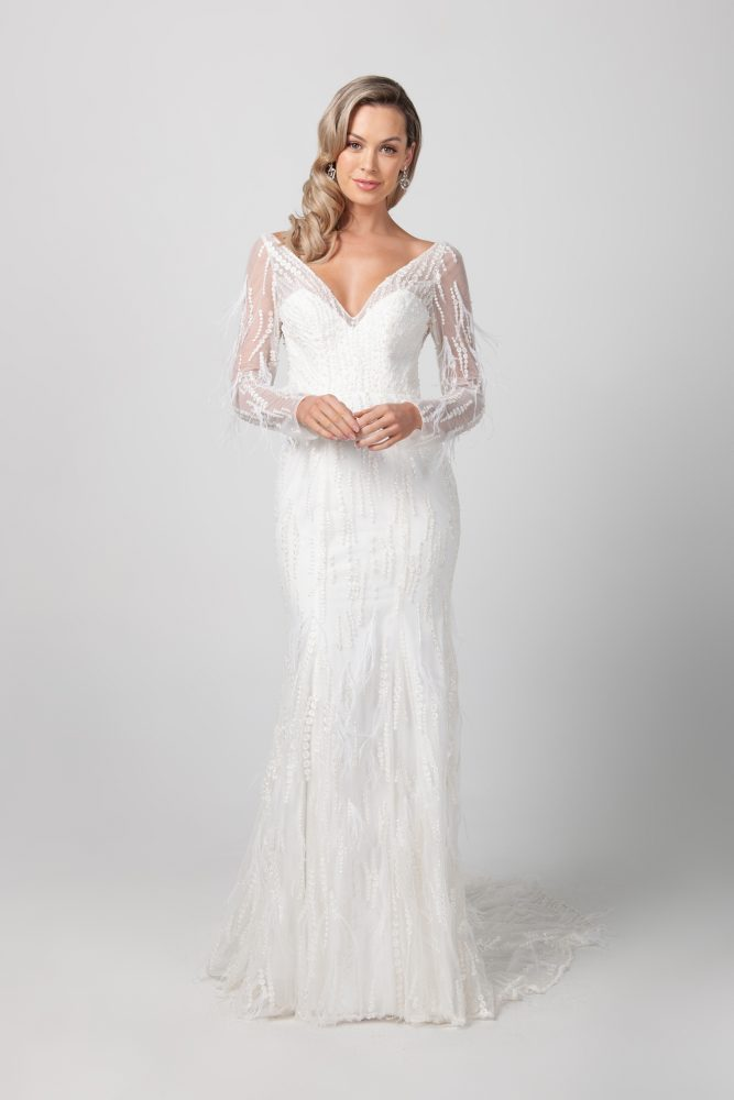 Long Sleeve V-neckline Beaded Feathered Wedding Dress by Michelle Roth - Image 1