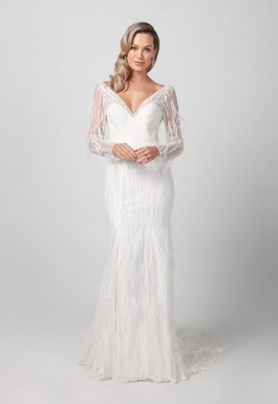 Long Sleeve V-neckline Beaded Feathered Wedding Dress by Michelle Roth