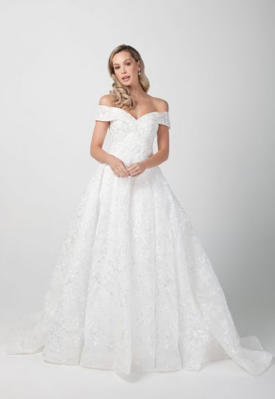 Off The Shoulder Beaded Lace A-line Wedding Dress by Michelle Roth