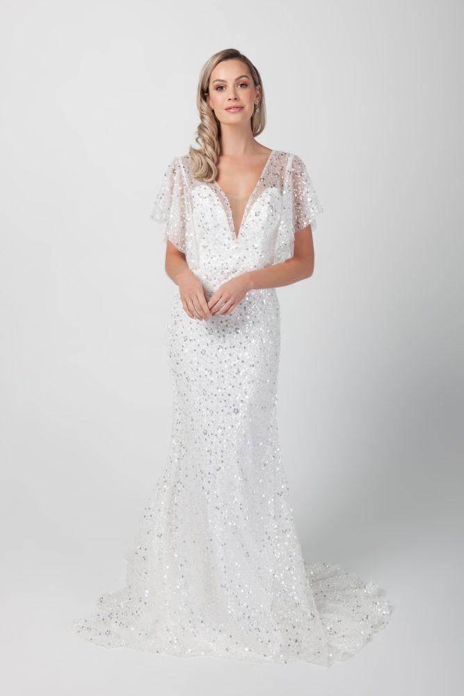 Sheer Flutter Sleeve Beaded A-line Wedding Dress by Michelle Roth - Image 1