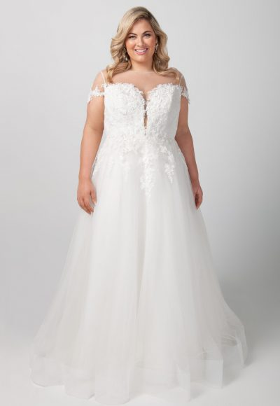 Short Sleeve Illusion Neckline Applique Bodice With Tulle Skirt Wedding Dress by Michelle Roth