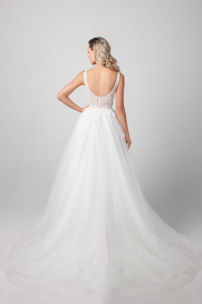 Sleeveless Beaded Illusion A-line Tulle Skirt Wedding Dress by Michelle Roth - Image 2