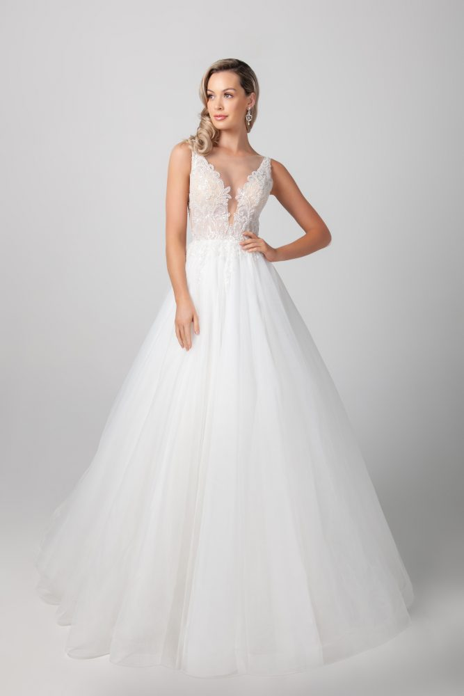 Sleeveless Beaded Illusion A-line Tulle Skirt Wedding Dress by Michelle Roth - Image 1