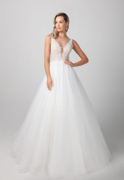 Sleeveless Beaded Illusion A-line Tulle Skirt Wedding Dress by Michelle Roth