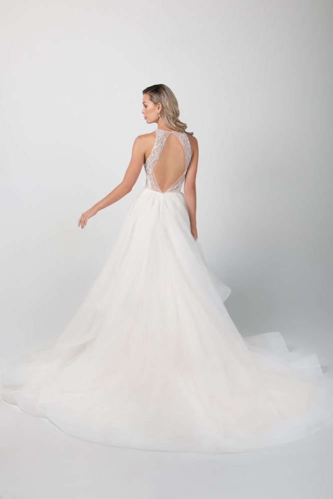 Sleeveless Jewel Neckline With Tiered A-line Skirt by Michelle Roth - Image 2