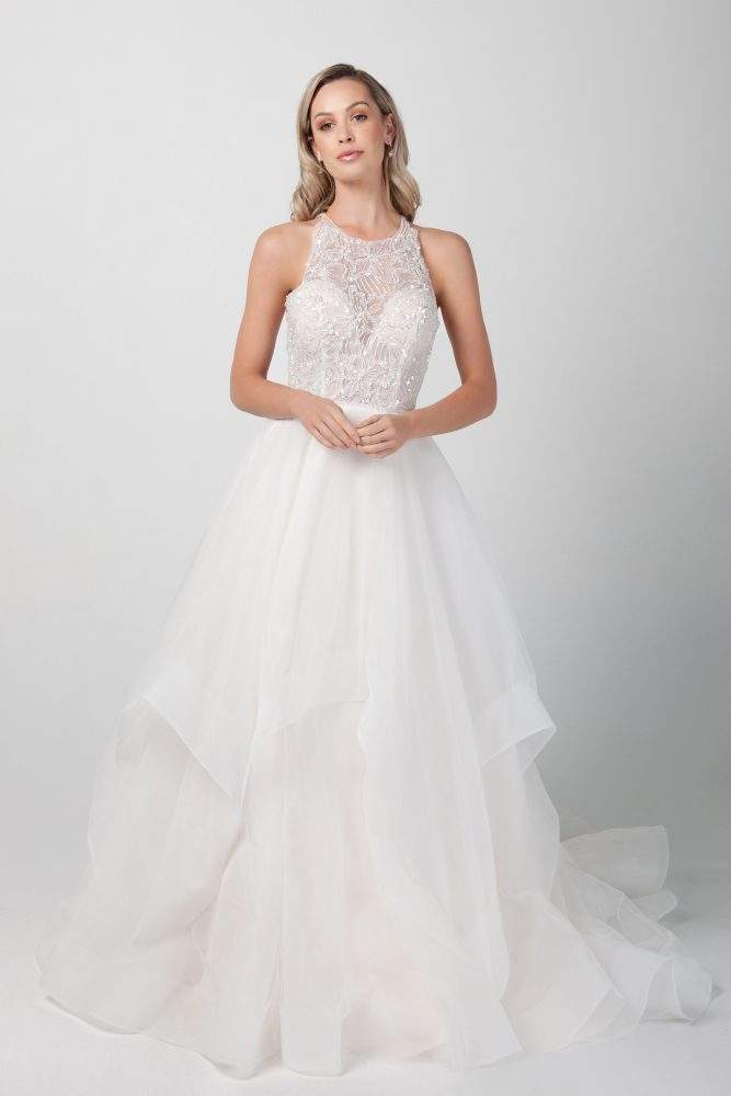 Sleeveless Jewel Neckline With Tiered A-line Skirt by Michelle Roth - Image 1