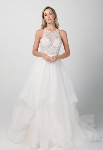 Sleeveless Jewel Neckline With Tiered A-line Skirt by Michelle Roth