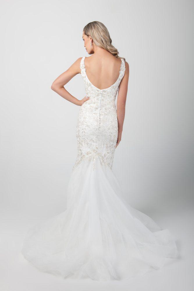 Sleeveless Mermaid Beaded Wedding Dress by Michelle Roth - Image 2