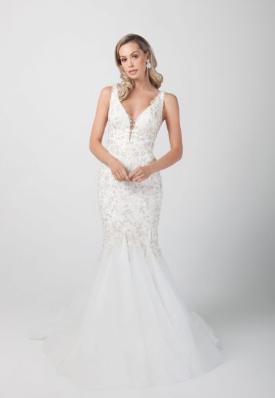 Sleeveless Mermaid Beaded Wedding Dress by Michelle Roth