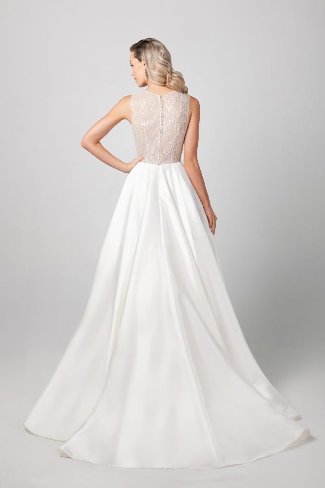 Sleeveless Mikado A-line Skirt Wedding Dress by Michelle Roth - Image 2