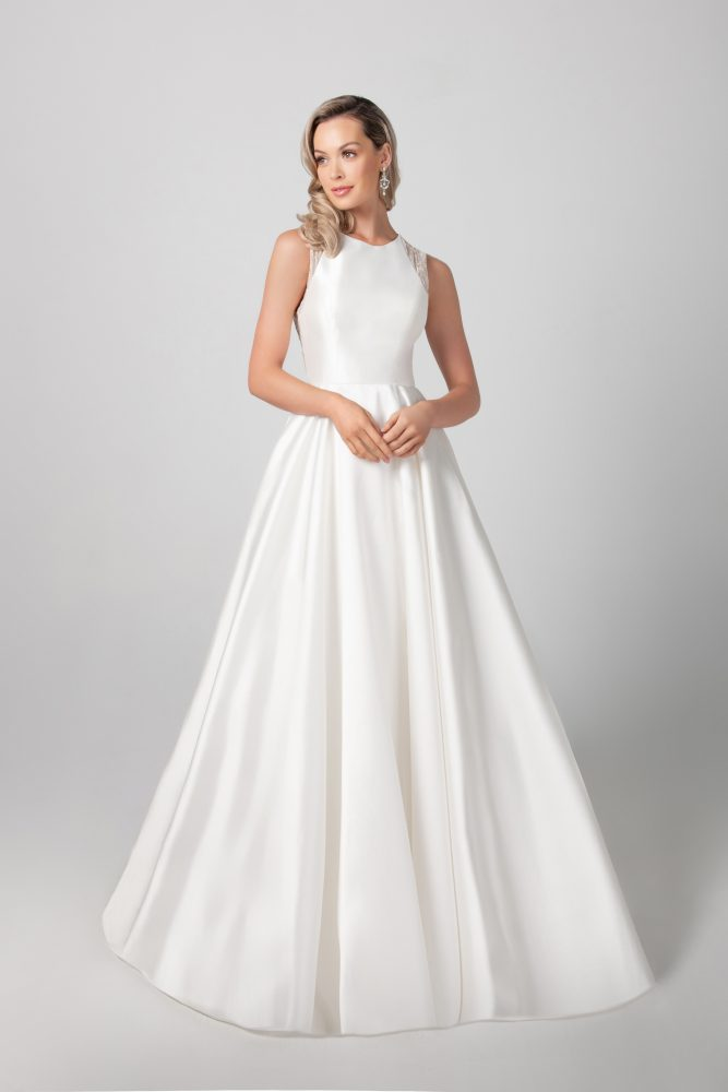 Sleeveless Mikado A-line Skirt Wedding Dress by Michelle Roth - Image 1