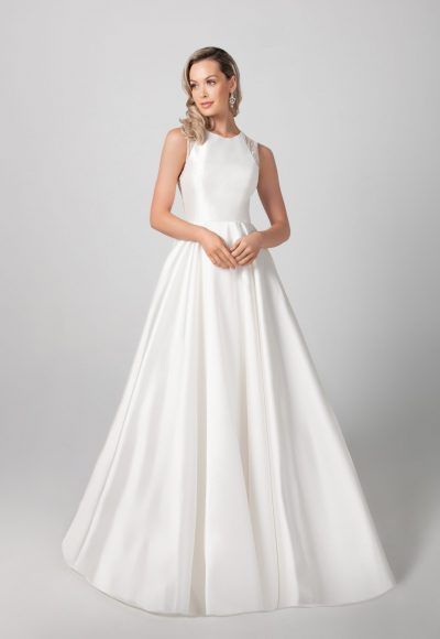 Sleeveless Mikado A-line Skirt Wedding Dress by Michelle Roth