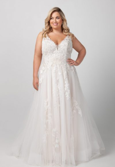 Sleeveless V-neck Beaded Lace A-line Wedding Dress by Michelle Roth