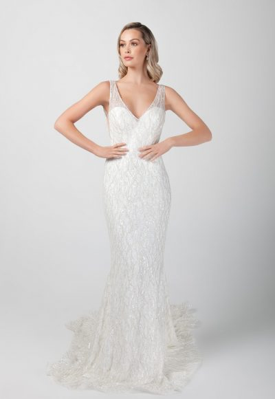 Sleeveless V-neckline Beaded Fit And Flare Wedding Dress by Michelle Roth