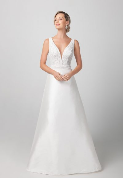 Sleeveless V-neckline With Miakdo Skirt A-line Wedding Dress by Michelle Roth