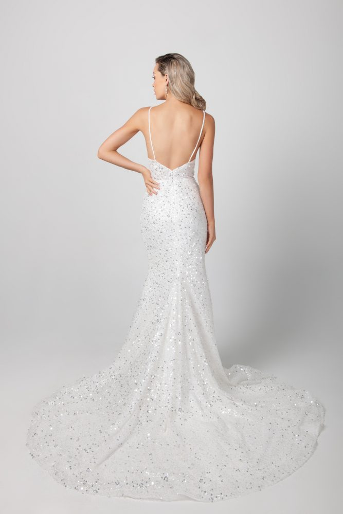 Spaghetti Strap Beaded Fit And Flare Wedding Dress by Michelle Roth - Image 2