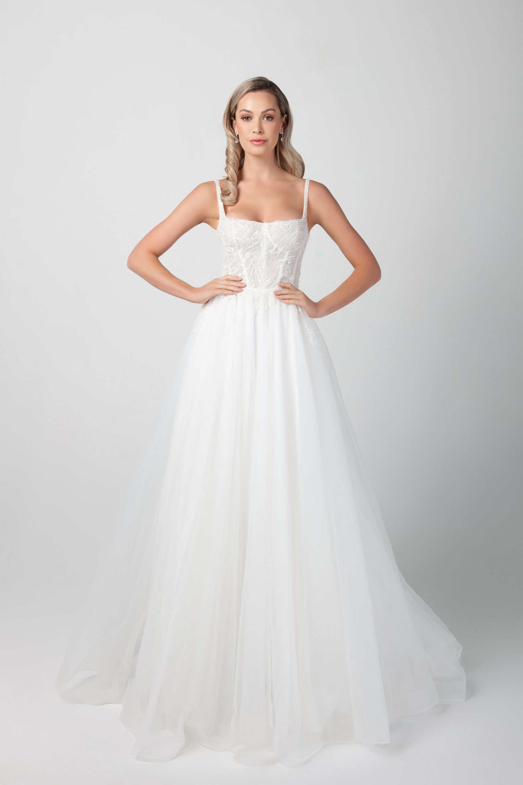 Spaghetti Strap Beaded Lace Soft Bodice A Line Skirt Wedding Dress Kleinfeld Bridal