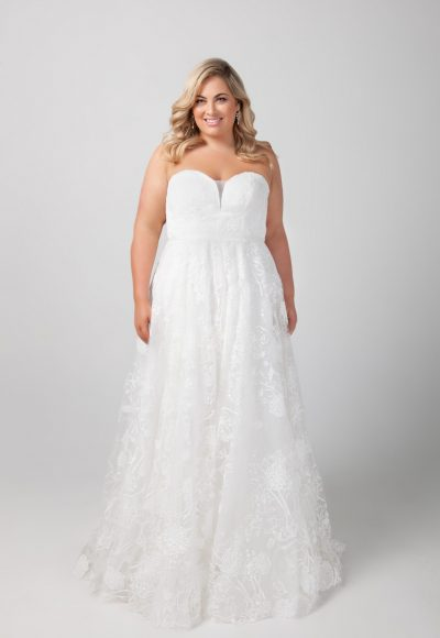 Strapless A-line Sweetheart Neckline Lace Wedding Dress by Michelle Roth