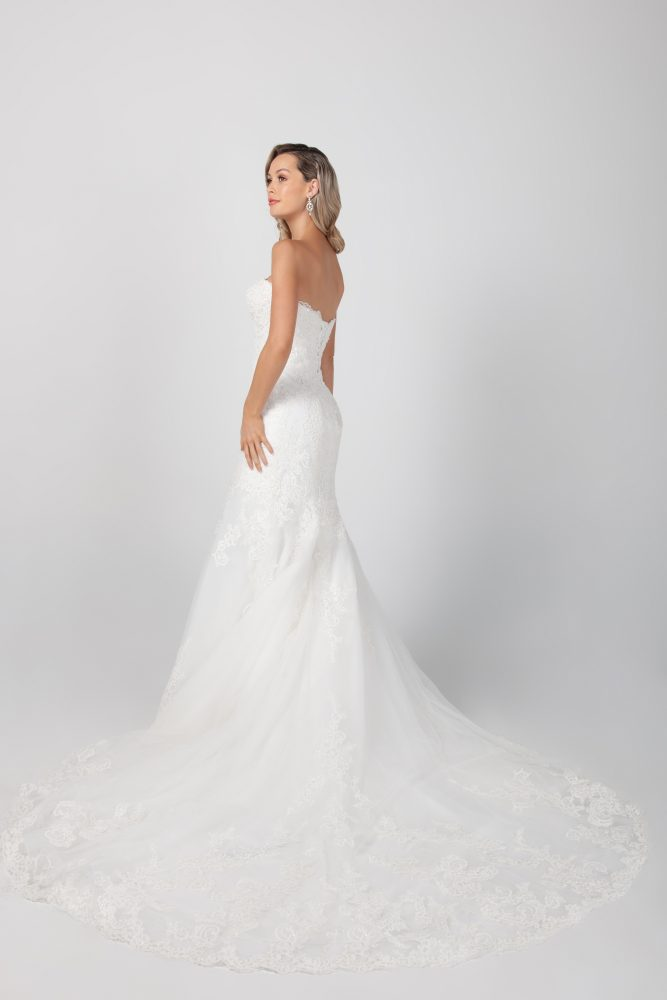 Strapless Fit And Flare Lace Wedding Dress by Michelle Roth - Image 2