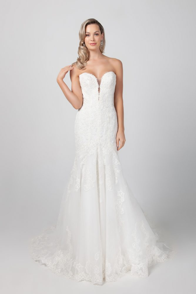 Strapless Fit And Flare Lace Wedding Dress by Michelle Roth - Image 1