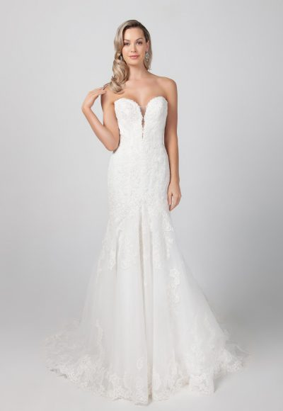 Strapless Fit And Flare Lace Wedding Dress by Michelle Roth
