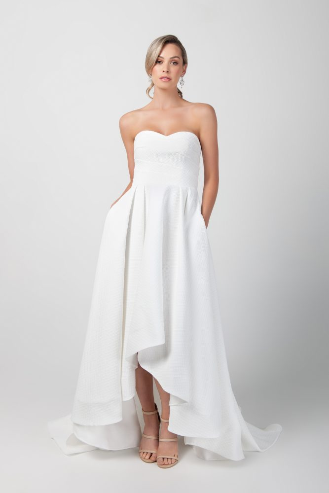 Strapless Hi-lo A-line Wedding Dress With Pockets by Michelle Roth - Image 1