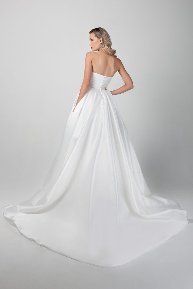 Strapless Mikado A-line Simple Wedding Dress by Michelle Roth - Image 2