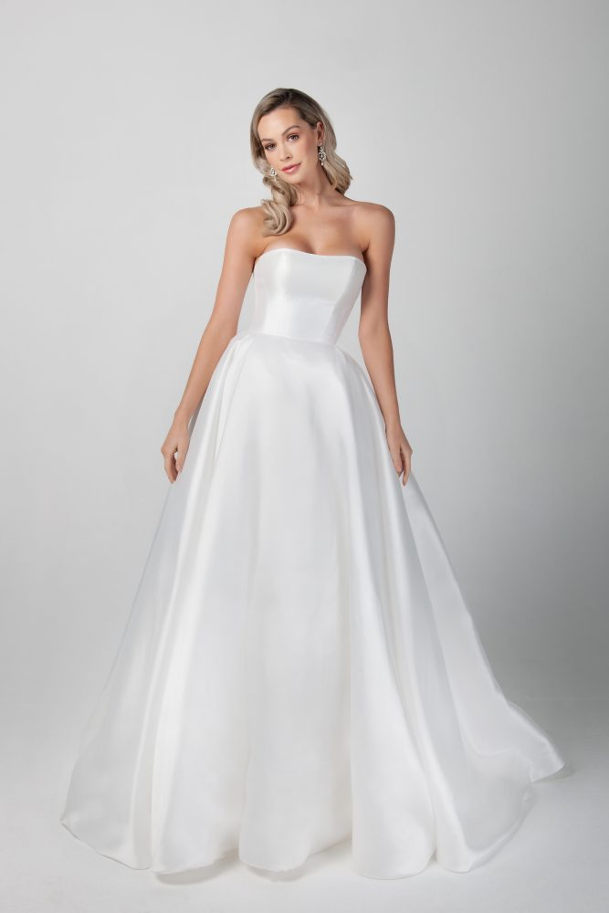 Strapless Mikado A-line Simple Wedding Dress by Michelle Roth - Image 1