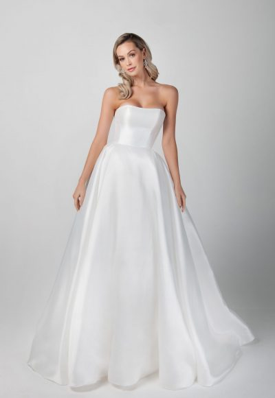 Strapless Mikado A-line Simple Wedding Dress by Michelle Roth