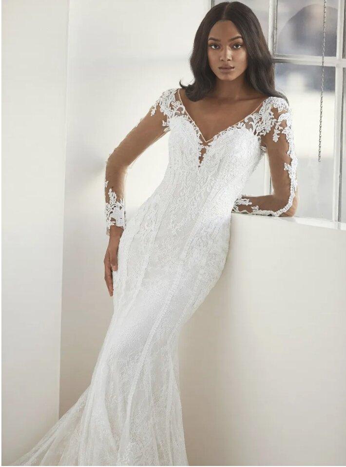 Long Sleeve V-neck Mermaid Wedding Dress by Pronovias - Image 1