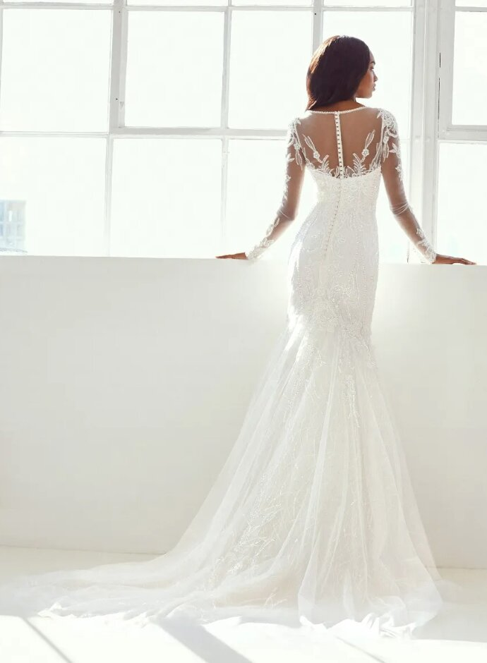 Long Sleeve V-neck Wedding Dress by Pronovias - Image 2
